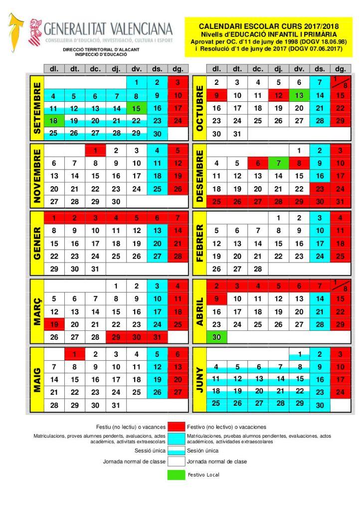 2017-2018 CALENDARI ESCOLAR primaria
