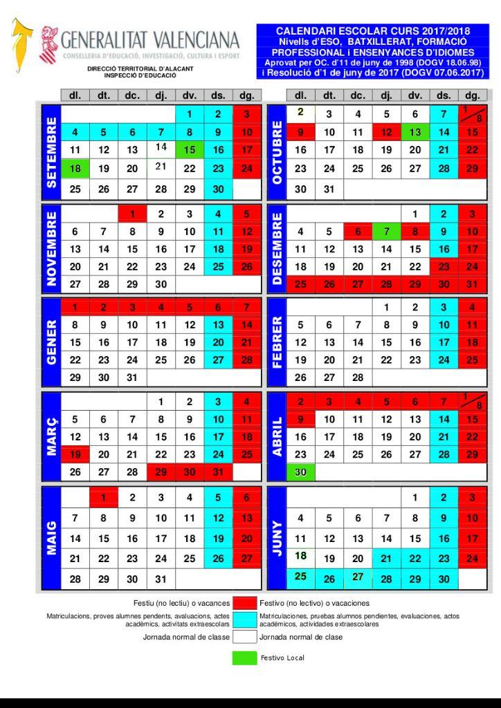 2017-2018 CALENDARI ESCOLAR secundaria
