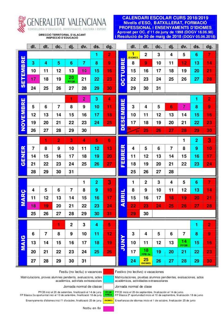 calendario secundaria
